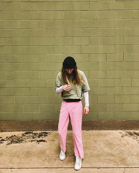 Dustin Faires - Converse All White High Tops, Thrifted Flared Pink Corduroy, Sons Leather Olive Green Belt, Zara Asymmetric Tight Long Sleeve, Urban Outfitters Oversized Green Shirt, H&M Olive Green Fisherman Beanie - C O S M O & W A N D A