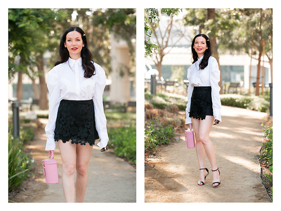 Lisa Valerie Morgan - Storets Blouse, Storets Shorts, Lpa Bag, Schutz Sandals - Fall Shorts and Life Lately