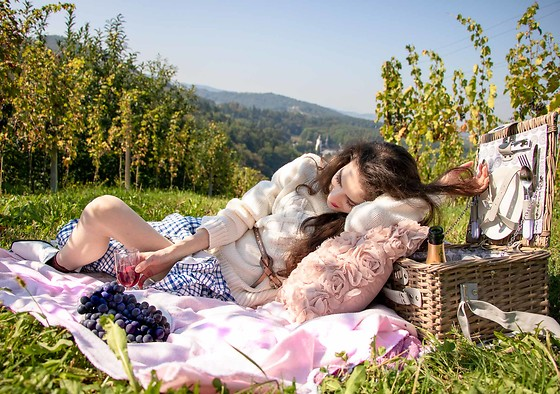 Veronika Lipar - Mango Blue Plaid Button Front Maxi Dress, Urban Outfitters White Cable Knit Turtleneck Sweater - FALL PICNIC IN THE VINEYARD