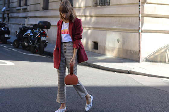 Manon B - Bershka Blazer, Zara Pants, Polene Bag - Plaid and Cordoroy