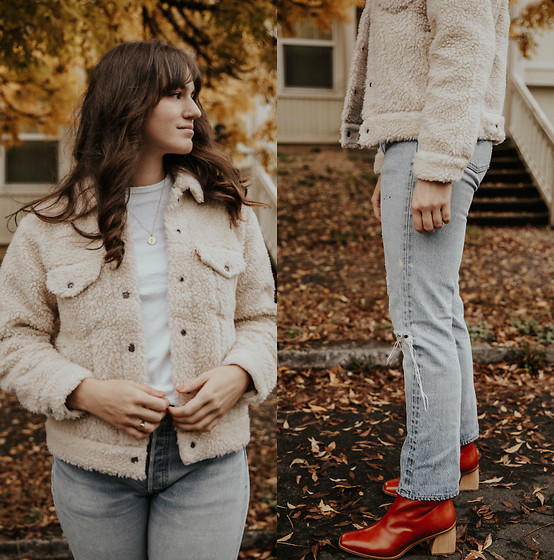 Tonya S. - Levis Levi's All Over Sherpa Jacket, Wolf Circus Rose Necklace, Levi's® Vintage 501 Levis, Paloma Wool Boots - Sherpa and Denim