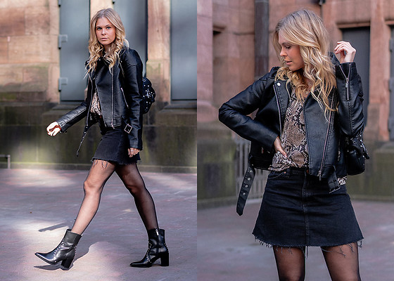 Sunnyinga - Loavies Leather Jacket, Loavies Shirt, H&M Skirt, Manfield Cowboy Boots - All Black Cowboy Boots Outfit with Snake Print Shirt