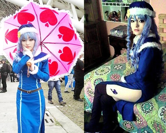 Nicole Benavides - Light Blue Wig, Blue Dress, Blue Cape, Brown Boots, Blue Hat, Nicole Benavides Custom Pink Umbrella With Hearts, Brown Belt - (Cosplay): Juvia Loxar, Fairy Tail (S2)