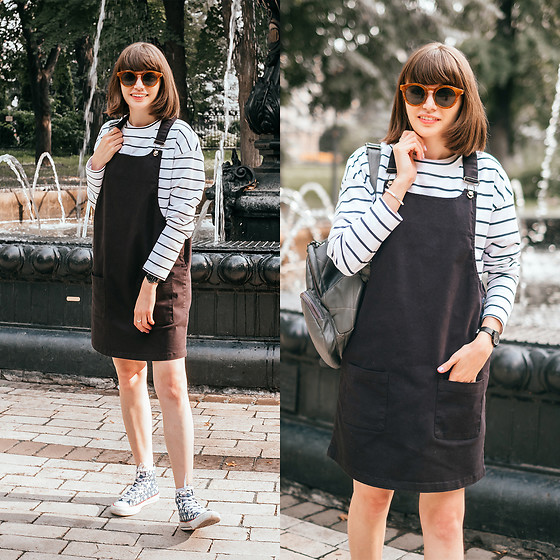 Christina & Karina Vartanovy - Bonprix Striped Sweatshirt, Bonprix Black Cord Dungaree Dress, Converse Chuck Taylor All Star Multi Star High Top Sneaker - Christina // Bonprix
