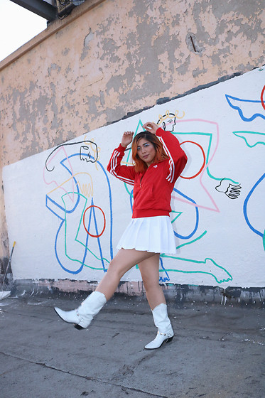 Yuka I. - Adidas Jacket, White Pleated Skirt, White Cowboy Boots - Dancing on a rooftop
