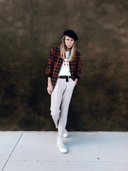 "Dustin Faires - Converse White Hi Tops, Thrifted Beige Trousers, ""Healy"" Concert Tee, Plaid Flannel Jacket, Asos Black Beret - F A L L"