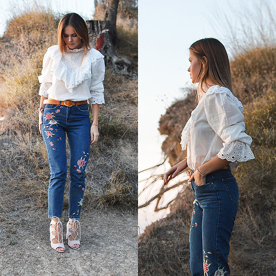 Tamara Bellis - Shein Blouse, Zaful Jeans, Pull & Bear Belt, Simmi Shoes Heels - October Sunsets in Corfu