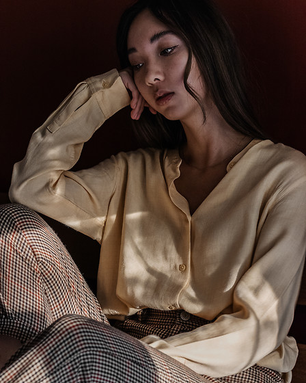 Gabby Chia - Uniqlo Yellow Collaless Shirt, Brandy Melville Usa Tweed Pants - Sittin