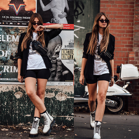 Jacky - Vintage Blazer, Marcell Von Berlin T Shirt, Minimum Moves Biker Shorts, Bershka Belt Bag, Dr. Martens Boots, Chimi Eyewear Sunglasses - How to wear biker shorts