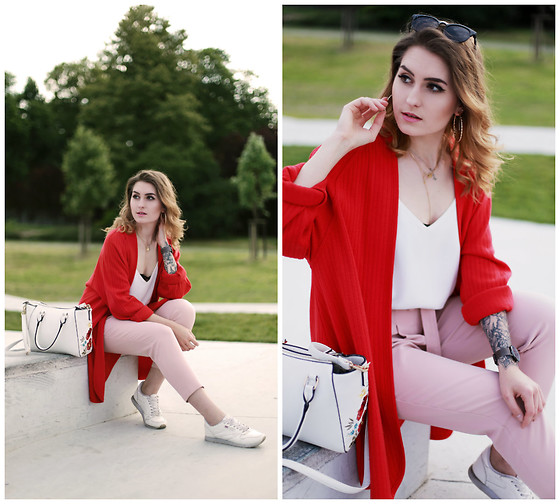 PASHIOON - New Look Pink Pants, New Look White Flower Bag, Second Hand Top, Second Hand Red Blazer - Pink red white