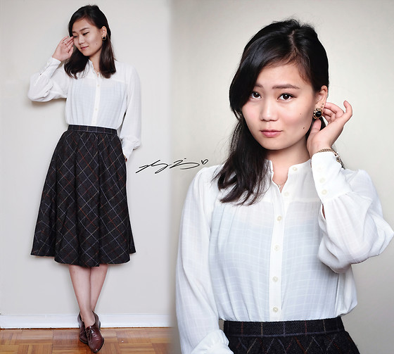 L Z - Loft Blouse, Noblegout Wool Skirt, Bata Vintage Brogues - Rainbow Plaid Wool Skirt