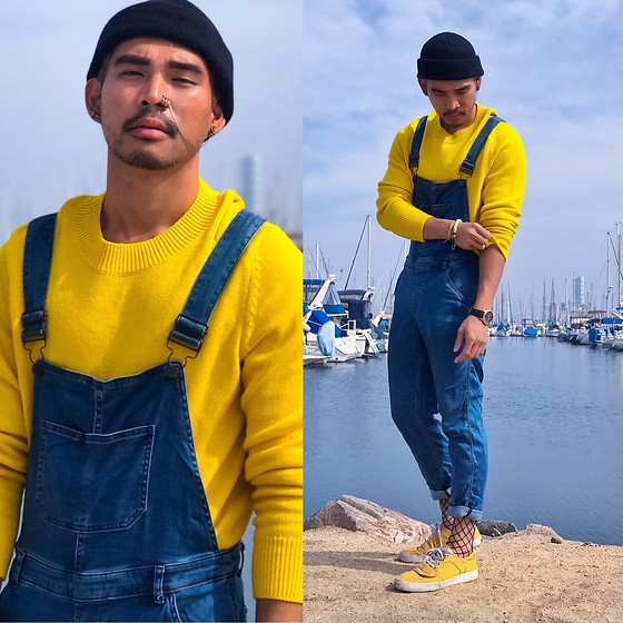 Ken Navarro - Calvin Klein Overalls, Nordstrom Sweater, Rock & Republic Yellow Sneakers - Minion Fisherman