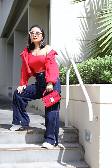 Kristen Tanabe - Shein Red Asymmetrical Crop Top, Shein Red Denim Jacket, Forever 21 Navy Wide Leg Pants, Zara White Platform Sneakers, Forever 21 Petite Red Purse, Marc Jacobs White Sunglasses - Sporty Meets Street Chic