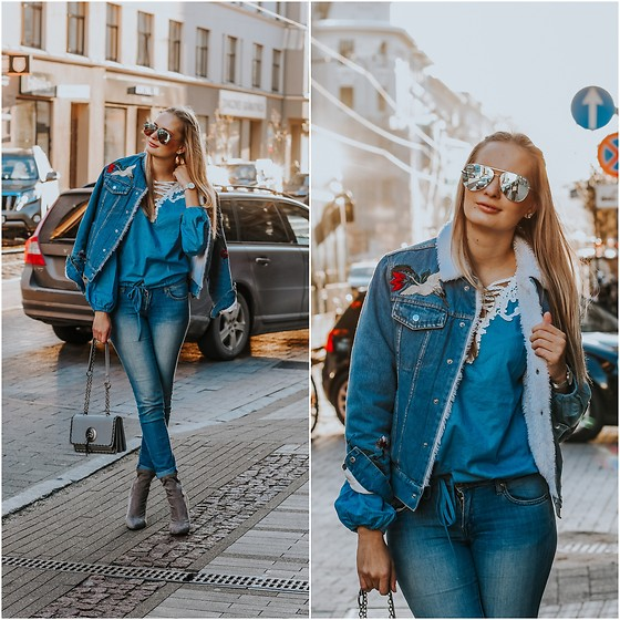 Madara L - Zaful Warm Fall Denim Jacket, H&M Blue Skinny Jeans, Desi High Key Sunglasses, Shein Chambray Blouse - My kind of Canadian Tuxedo