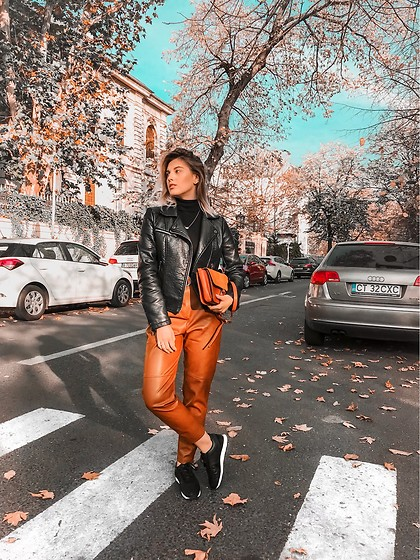 Vlada Avornic - Missguided Jacket, Pull & Bear Leather Pants, Zara Sneakers - Thank you November !