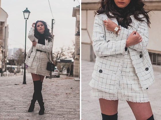 Jelena Dimić - Shein Tweed Blazer, Shein Tweed Skirt, Rosefield The Boxy Watch, Aliexpress Bag - Real talk, you got me goin' crazy