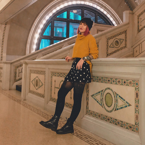 Jessie Bee - Amazon Yellow Sweater, Dr. Martens 1460 Boots, Target Polka Dot Shorts, Gucci Belt, Uniqlo Tights, Free People Thigh High Socks - The Yellow Sweater