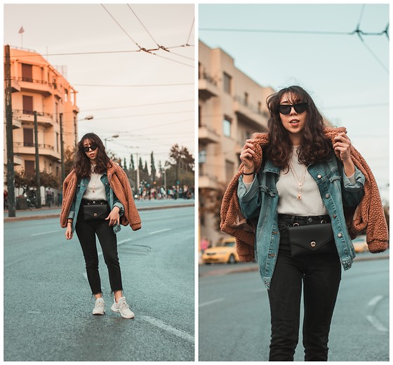 Theoni Argyropoulou - Teddy Bear Jacket, Zara Denim Jacket, Zara Waist Bag, Asos Mom Jeans, Zaful Ribbed Pullover, Bershka Necklaces, Cat Eye Sunglasses, Ugly Sneakers - How to layer like a pro on somethingvogue.com
