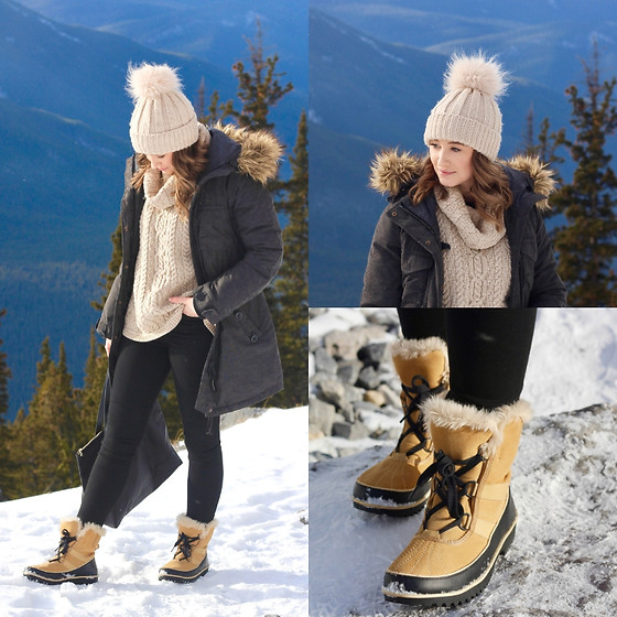 Taylor Doucette - H&M Knit Turtleneck, Sorel Winter Boots, Topshop Pom Pom Hat, Parka - Thank u, next - Ariana Grande