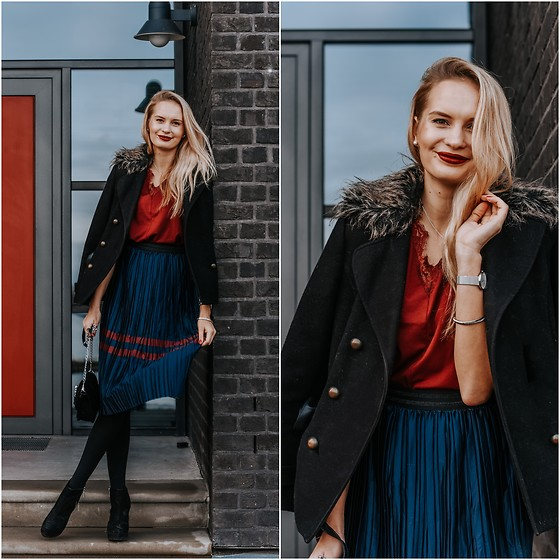 Madara L - Shein Burgundy Blouse, Rosegal Midi Skirt, Primark Black Coat - Midi skirts are back