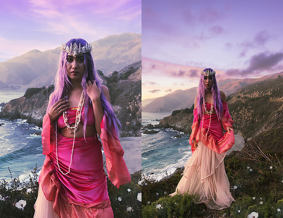 Sera Brand - Stardust Bohemian Serenity Bandeau, Free People Tulle Maxi Skirt, Wild And Free Jewelry Cosmic Queen Mermaid Crown - In a land far away..