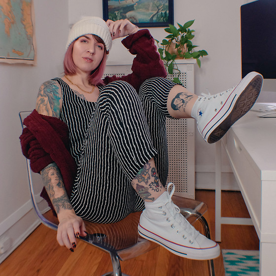 Jessie Bee - Amazon Striped Jumpsuit, Converse Chuck Taylor All Star High Top, Kohl's Double Pom Beanie, Marshall's Chunky Red Cardigan, Madewell Mini Geochain Necklace - You're an All Star