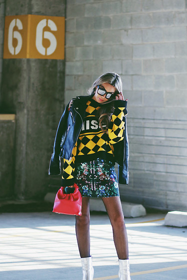 Eliza Romero - The Ragged Priest Checked Cropped Knit Sweater, Asos Floral Scuba Miniskirt, Asos Fortune Cookie Handbag, Blank Nyc Leather Embroidered Jacket, Asos Silver Ankle Boots - Somebody To Love