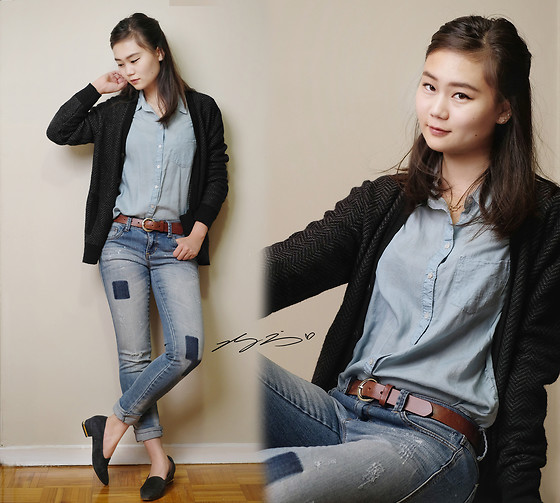 L Z - Gap Boyfriend's Cardigan, Aerie Chambray Shirt, Forever 21 Boyfriend Jeans, Vintage Smoking Shoe - Weekend Boyfriend Style