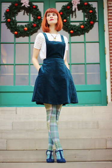 Bleu Avenue Ofbleuavenue - Modcloth Cupcake Consultant Jumper Dress, Modcloth Get A Leg Up Plaid Tights - Cupcake Consultant
