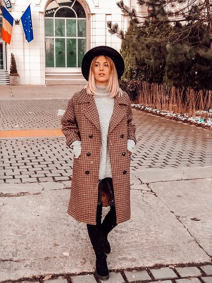Vlada Avornic - Tbdress Coat, Aldo Hat, Amiclubwear Over The Knee Boots - Plaid coat is a must