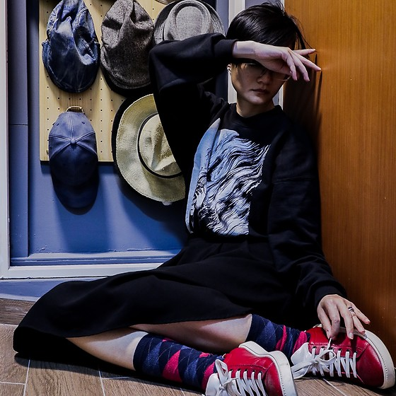 Ren Rong - The Devil Is A Handsome Man Sweater, Lowry's Farm Skirt, Hue Argyle Socks, Beetlebug Sneakers - Sweater Weather