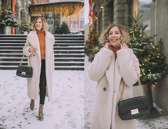 Margarita Maslova - H&M White Teddy Coat, Zara Boots, Michael Kors Bag - White teddy coat