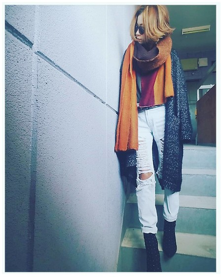 Chii - Ungrid Cardigans, New Look Jeans, Asos Scarves - Brown♡