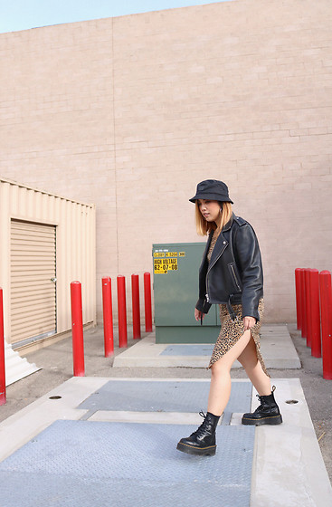 Yuka I. - Leopard Slip Dress, Dr Marten Boots, Acne Studios Bucket Hat - Stitched leather