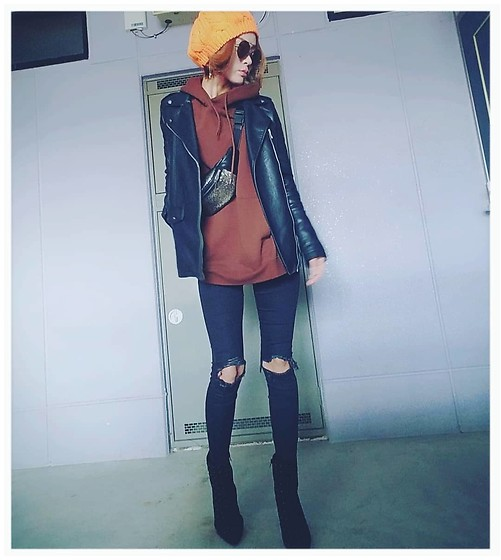 Chii - Zara Jacket, Asos Jeans, Wego Sweat - Orange🎩♡