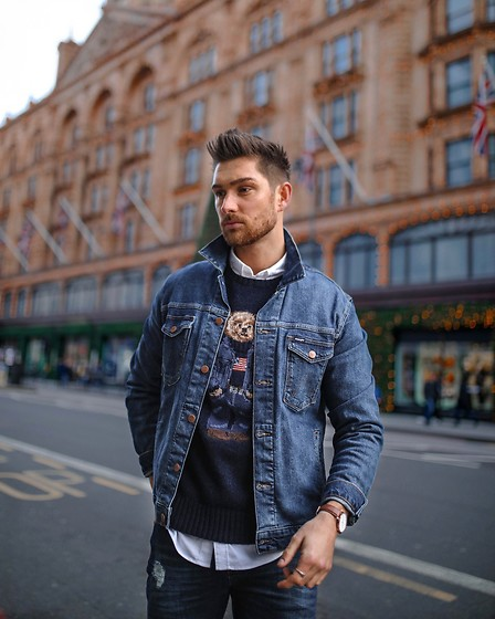 Henry & William Wade - Wrangler Denim Jacket, Ralph Lauren Teddy Jumper - Christmas look