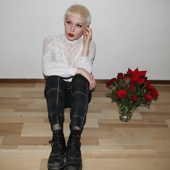 Thelma Malna - Second Hand Blouse, Monki Tartan Trousers, Dr. Martens 1460 Boots - RED ROSES AND RED LIPS