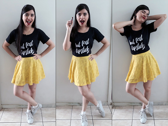 "Luly Lage - Cat Necklace, Lolja ""But 1st, Lipstick"" Shirt, Yellow Shirt, White Socks, Emoji Sneakers - Priorities"