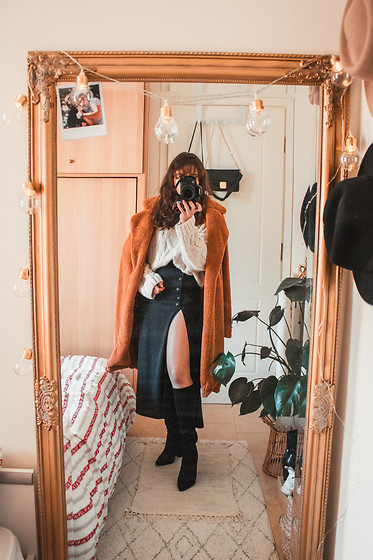 Theoni Argyropoulou - Teddy Bear Coat, Stradivarius Knit, Maxi Skirt, Zaful Knee High Boots - Styling the teddy bear coat on somethingvogue.com