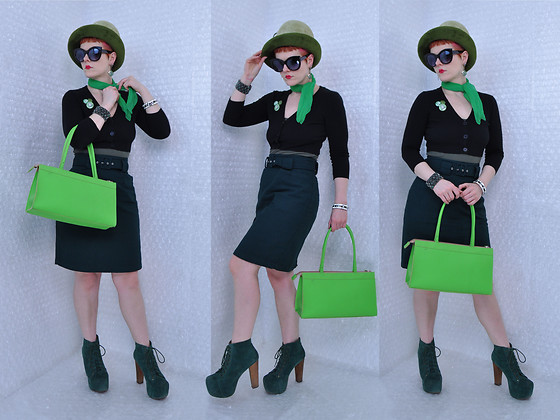 Suzi West - Kutz 1960s Hat, Best Dressed Dame Sunglasses, Shantel Niblock Earrings, That Poor Girl Vintage Silk Scarf, Hot Topic 37 Pieces Of Flair, Sherry's Estate Sales Vintage Bracelets, Mak Sweater Cardigan, Target Tank, Tangiers 1990s Skirt, Alan Stuart Bag, Jeffrey Campbell Shoes Lita Boots - 17 March 2018