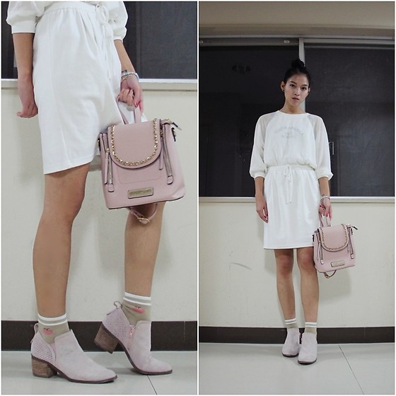 Tram Anh - E Hyphen World Gallery Dress, Andrew Marc Backpack, Socks, Steve Madden Ankle Boots - New Year, Old Clothes