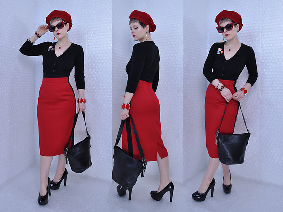 Suzi West - Estate Sale Vintage French Beret, Best Dressed Dame Sunglasses, Suzi West Model Earrings, Hot Topic 37 Pieces Of Flair, Mak Sweater Cardigan, Estate Sale Vintage Bracelets, Albert Nipon Pencil Skirt, Coach Leather Bag, Mossimo Heels - 16 February 2018
