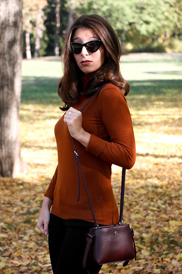Carmen Schubert - H&M Black Sunglasses, Zara Orange Pullover, Aigner Bordeaux Bag - Autumn Colours