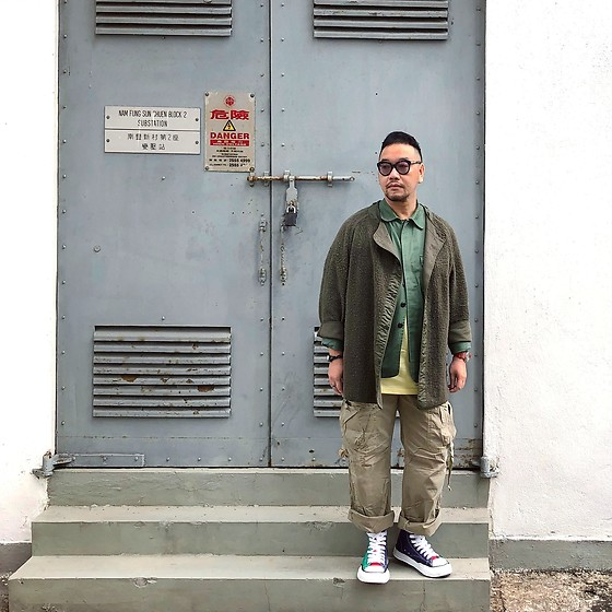 Mannix Lo - Vintage Military Inner Jacket, Online Shop Coverall, Cotton On Tee, Gap Cargo Pants, Miharayasuhiro Multicolor Hi Top Sneakers - Whatever is good for your soul, do that