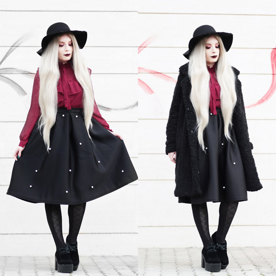 Federica D - Shein Teddy Bear Coat Black, Shein Midi Black Skirt With Pearls, Shein Burgundy Blouse - Vintage feeling