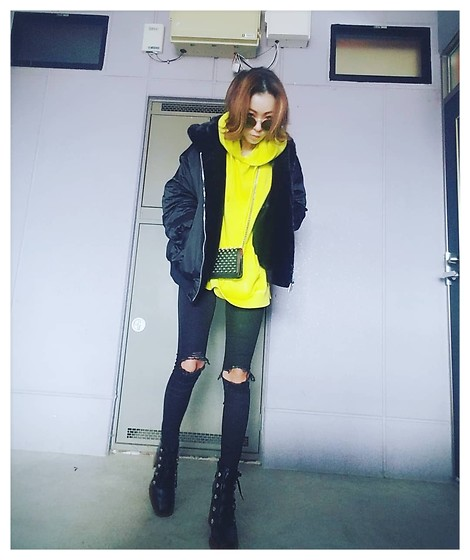 Chii - Zara Jacket, Wego Sweat, Asos Jeans, Zara Boots - Yellow♡