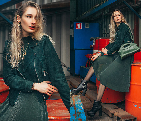 Eva Velt - Vero Moda Jacket, Wanderlust And Co, Dress, Monki Heels - SHEIN DRESS AND GREEN VERO MODA JACKET