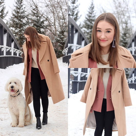 Taylor Doucette - Club Monaco Camel Wool Coat, Zara Dusty Rose Blazer, Forever 21 Statement Earrings - Figure Me Out - The Summer Set