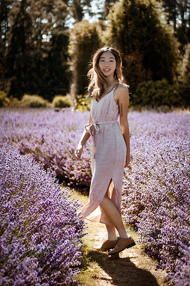 Gabby Chia - Glassons Linen Dress, Asos Brogued Oxfords - Lavender Fields