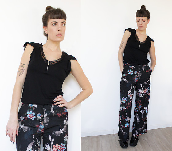 ♡Nelly Kitty♡ - H&M Floral Palazzo Pants - OOTD#56